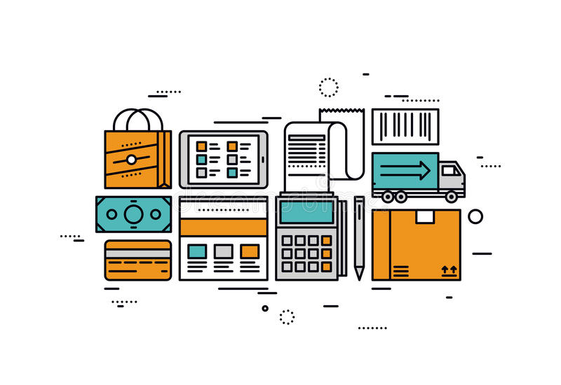 E-commerce services line style illustration. Thin line flat design of e-commerce services and retail goods delivery, online shopping checkout, paying for market stock illustration