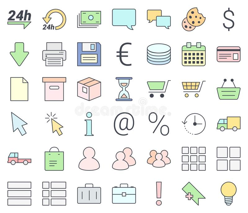 E-commerce simple thin icon set, filling with pastel colors, isolated on white background vector illustration