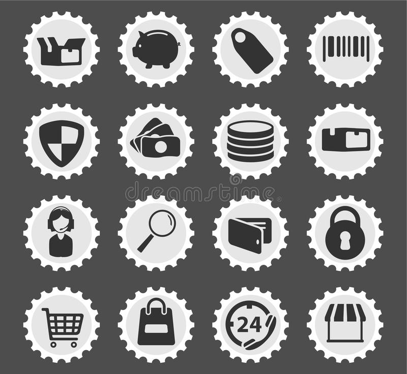 E-commerce simply icons. E-commerce simply symbol for web icons and user interface stock illustration