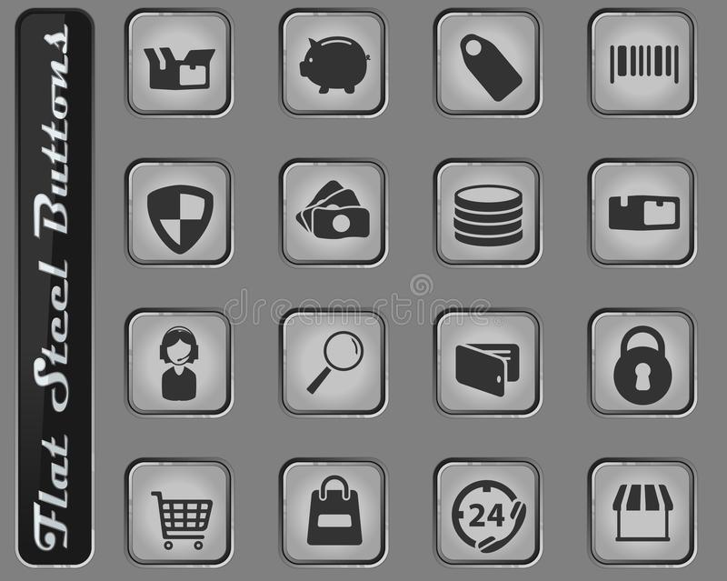 E-commerce simply icons. E-commerce vector web icons on the flat steel buttons royalty free illustration