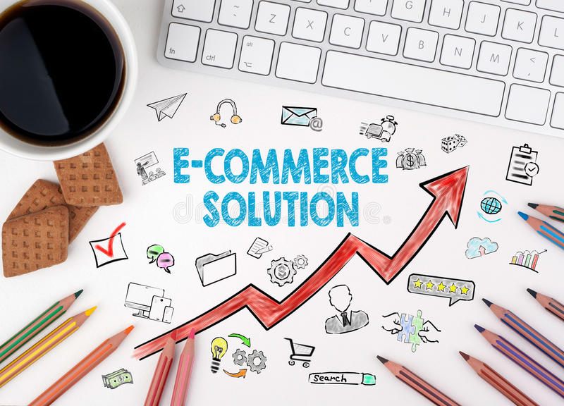 E-Commerce Solution, Business Concept. Computer keyboard and cup of coffee on a white table royalty free illustration
