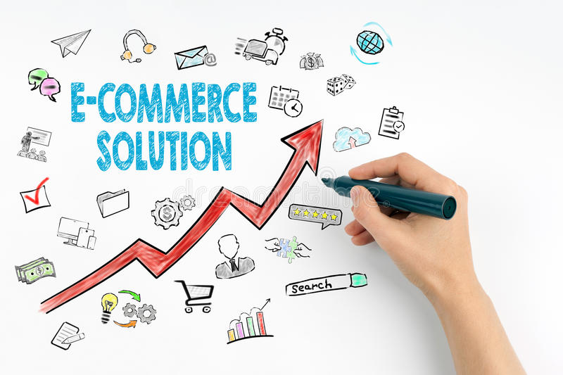 E-Commerce Solution, Business Concept. Hand with marker writing royalty free stock images
