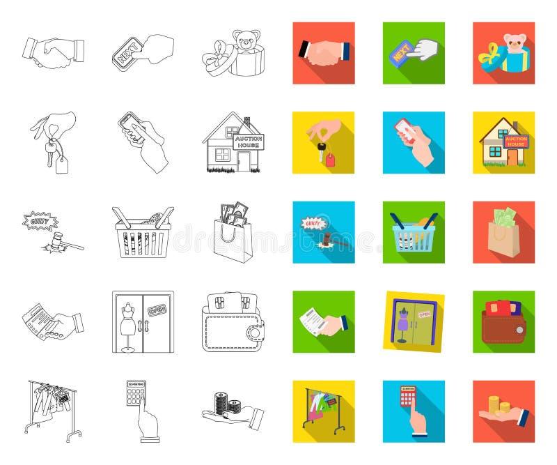 E-Commerce- und Geschäftsentwurf, flache Ikonen in gesetzter Sammlung für Entwurf Vektorsymbol-Vorratnetz kaufen und verkaufend stock abbildung