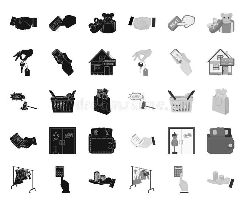 E-Commerce- und Gesch?ftsschwarzes Monoikonen in gesetzter Sammlung f?r Entwurf Vektorsymbol-Vorratnetz kaufen und verkaufend vektor abbildung