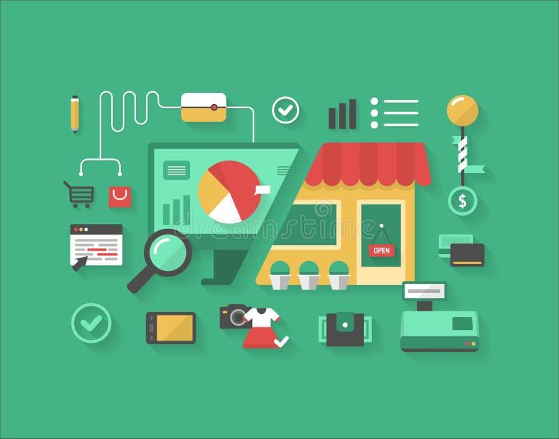 E-Commerce und Kleineinkaufen vektor abbildung