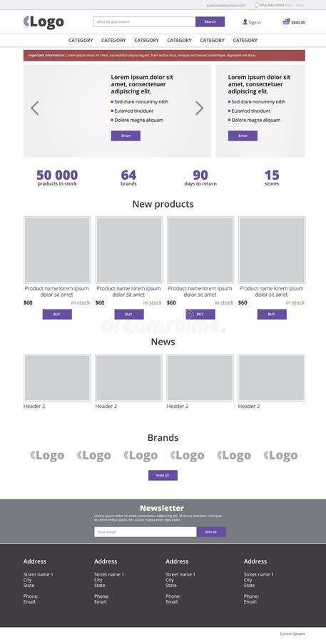 Ecommerce website template, modern vector flat design layout stock illustration
