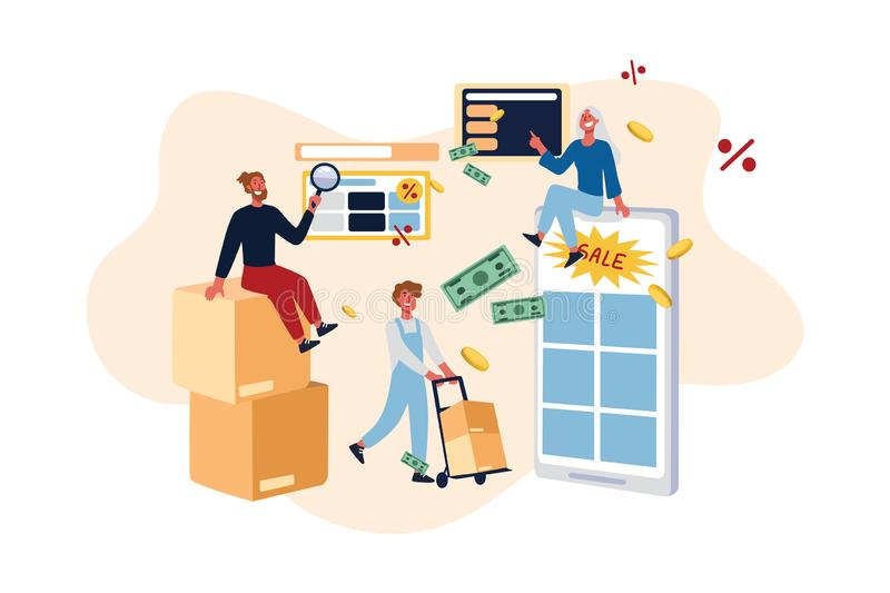 E-commerce websites discount offers, holiday sale, shoppers searching for best price, ordering products online royalty free illustration