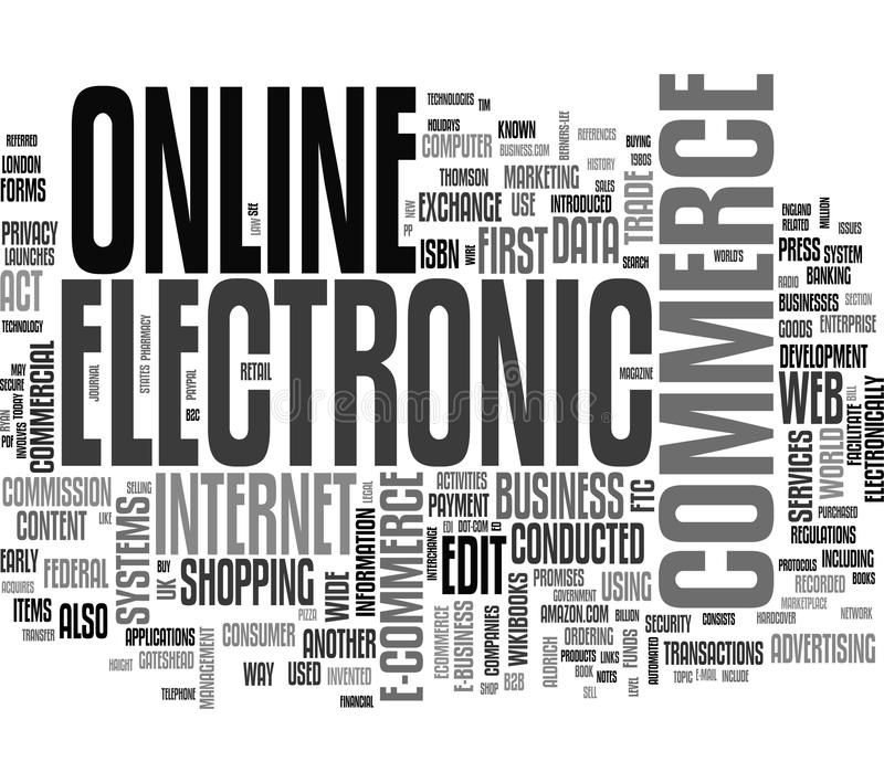 E-commerce word cloud. Email word cloud on white background, gorgeous tag clouds for your design royalty free illustration