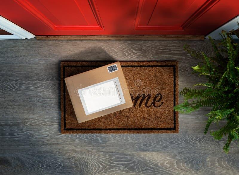 E-commerceaankoop aan uw deur wordt geleverd die stock afbeeldingen