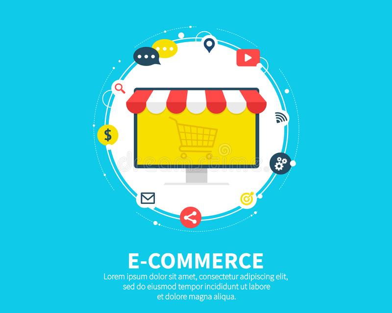 E-commerse online store. Business concept. Banner webpage design with shopping cart and sale items icons. Flat cartoon vector illustration