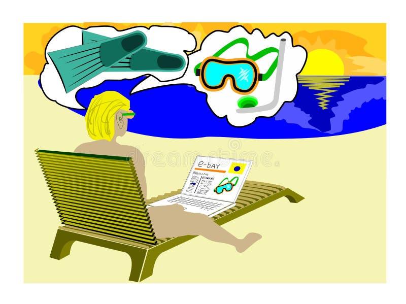 E-compartiment sur la plage illustration de vecteur