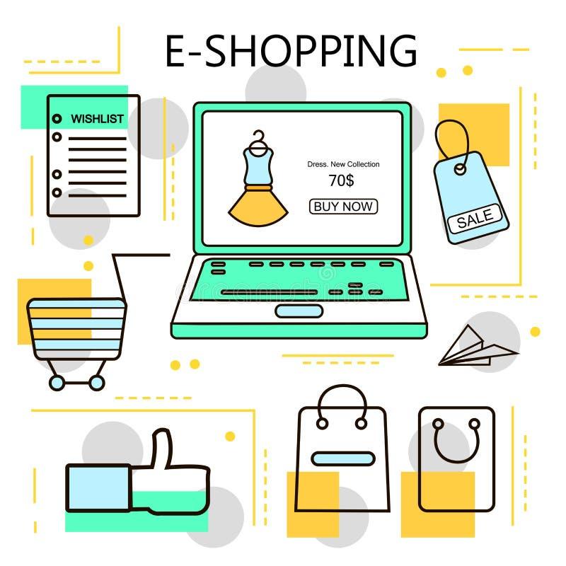 E-compra e negócio em linha da compra Internet e conceito móvel do mercado Para serviços da Web e de telefone celular e apps Veto ilustração stock