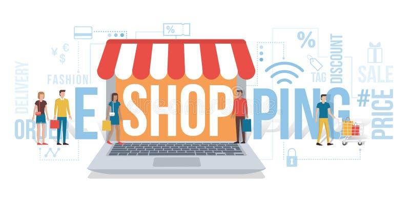E-compras ilustración del vector