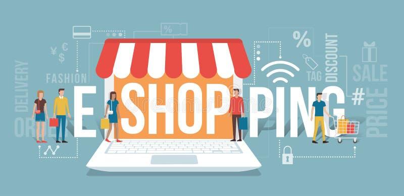 E-compras stock de ilustración