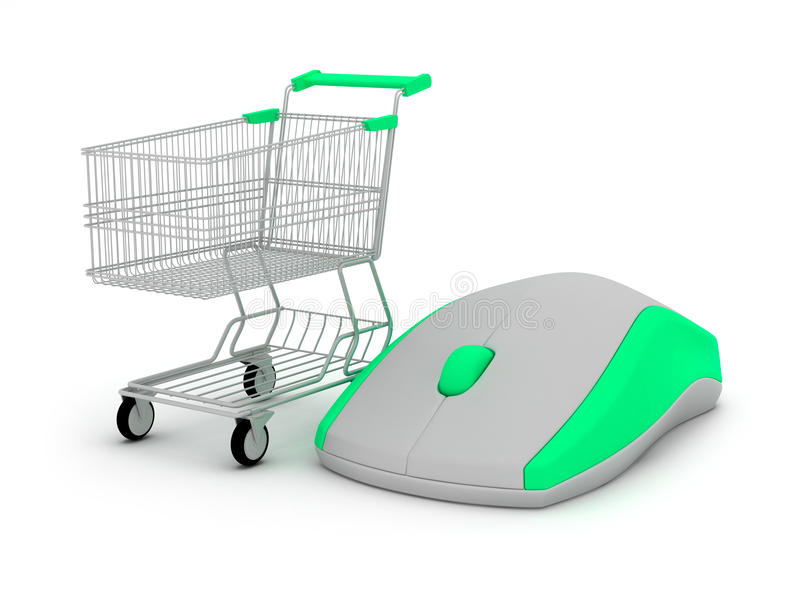 E-compras - carro de compras y ratón del ordenador stock de ilustración