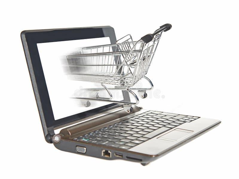 E-compras del ordenador fotografía de archivo