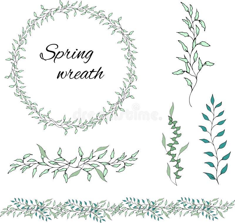 E Concepto del ornamento de la primavera stock de ilustración