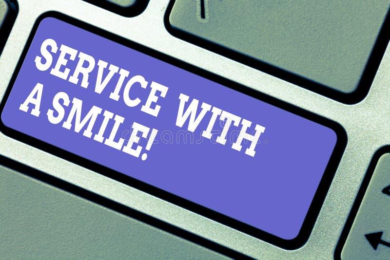 E Concetto di affari per felicità in tastiera motivata di sostegno di assistenza su ordinazione immagini stock
