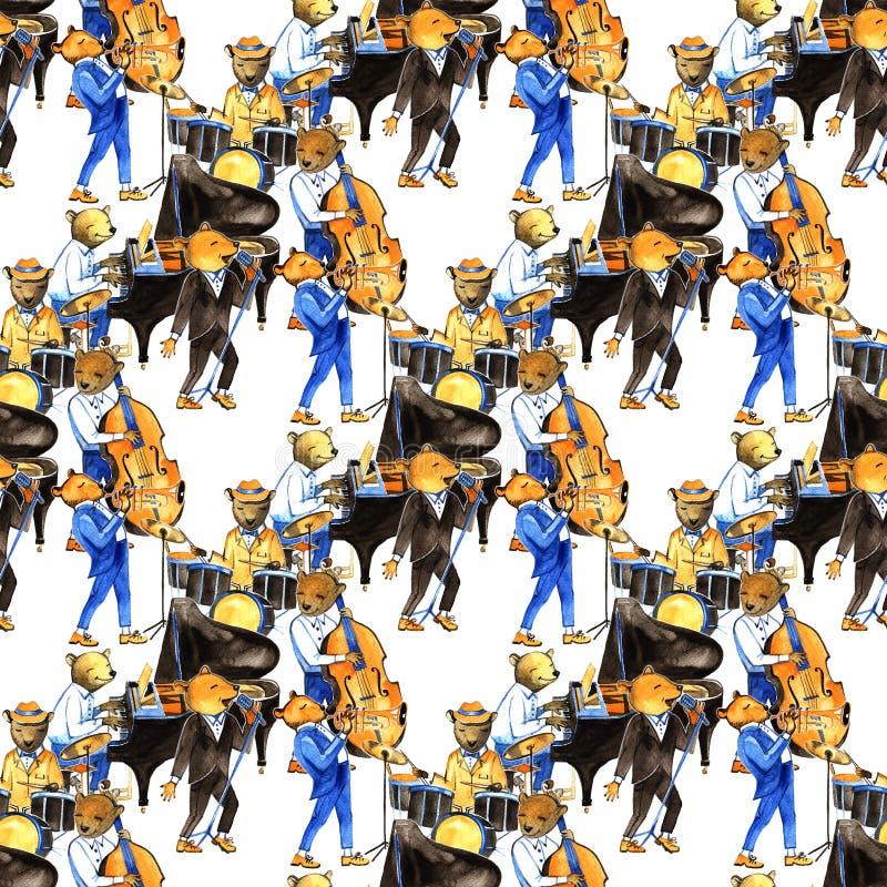 E Configuration sans joint Illustration avec des musiciens d'ours Batteur, chanteur, pianiste, double perche illustration libre de droits