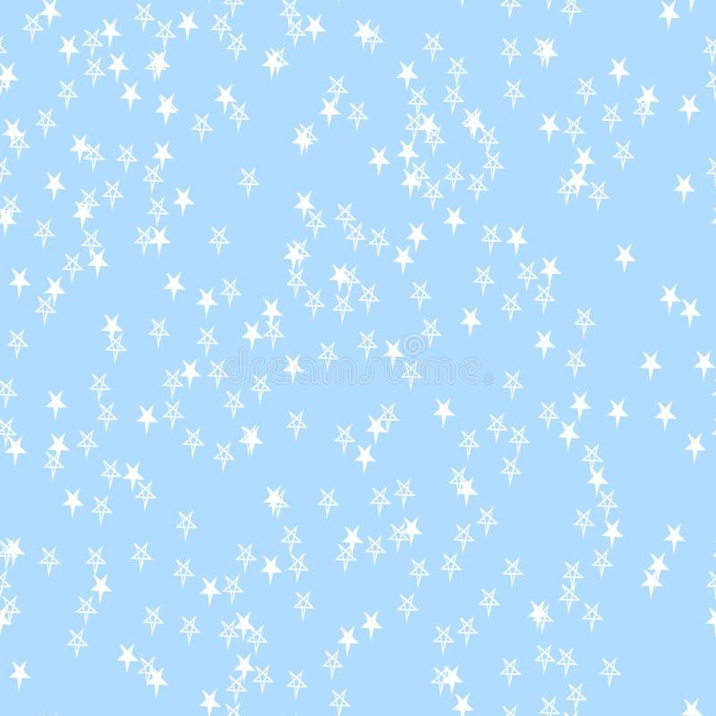 E Contexte neutre classique Étoiles blanches aléatoirement dispersées tirées par la main sur le bleu illustration libre de droits