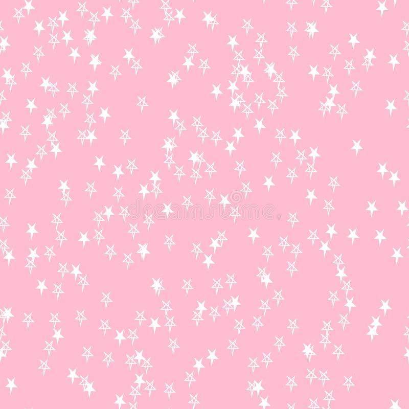E Contexte neutre classique Étoiles blanches aléatoirement dispersées tirées par la main sur le rose illustration libre de droits
