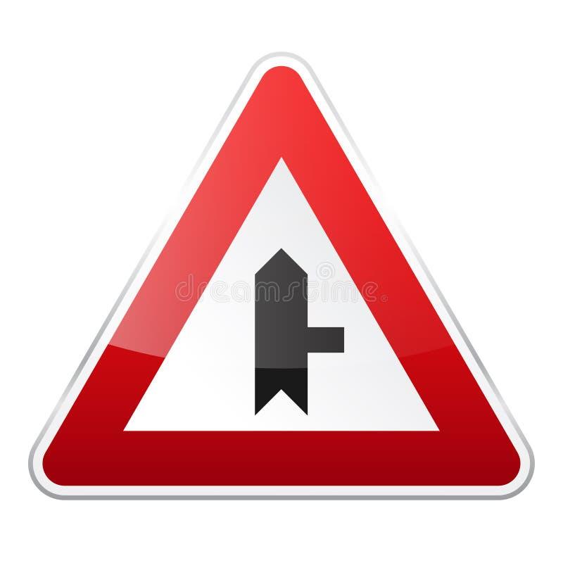 E Controle de tráfego rodoviário Uso da pista r Parada e rendimento rua ilustração do vetor