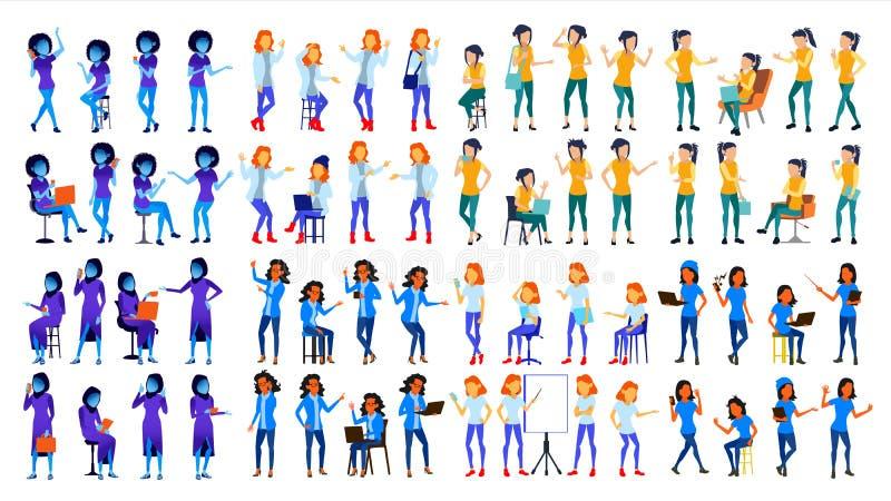 E Cores modernas do inclinação Poses diferentes dos povos Caráter do negócio Pessoa bonita Pessoa creativa ilustração do vetor