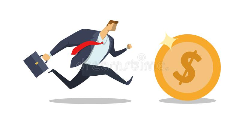 E Corsa per successo Affretti in su Fabbricazione dei soldi Concetto piano illustrazione di stock