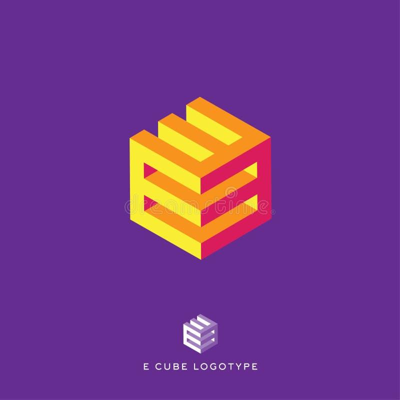 E cube logo. Building Logo. E monogram. E cube yellow and red logo. vector illustration