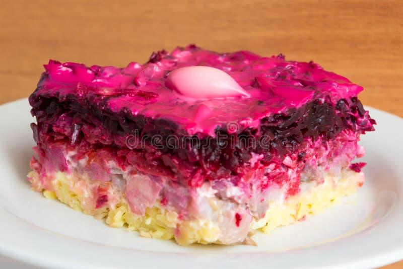 E Culin?ria russian tradicional A salada mergulhada composta de arenques conservados cortados cobriu imagem de stock