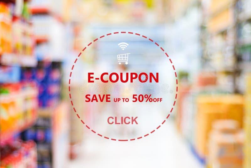 E-cupón, fondo de la bandera del web de la cupón del descuento del ultramarinos, haciendo compras foto de archivo libre de regalías