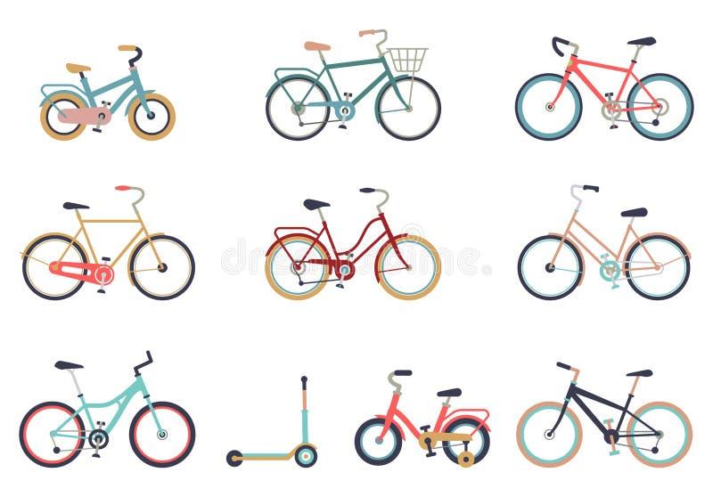 E Cykla f?r mannen, kvinnan, pojken, flicka Cykelsymbolsvektor royaltyfri illustrationer