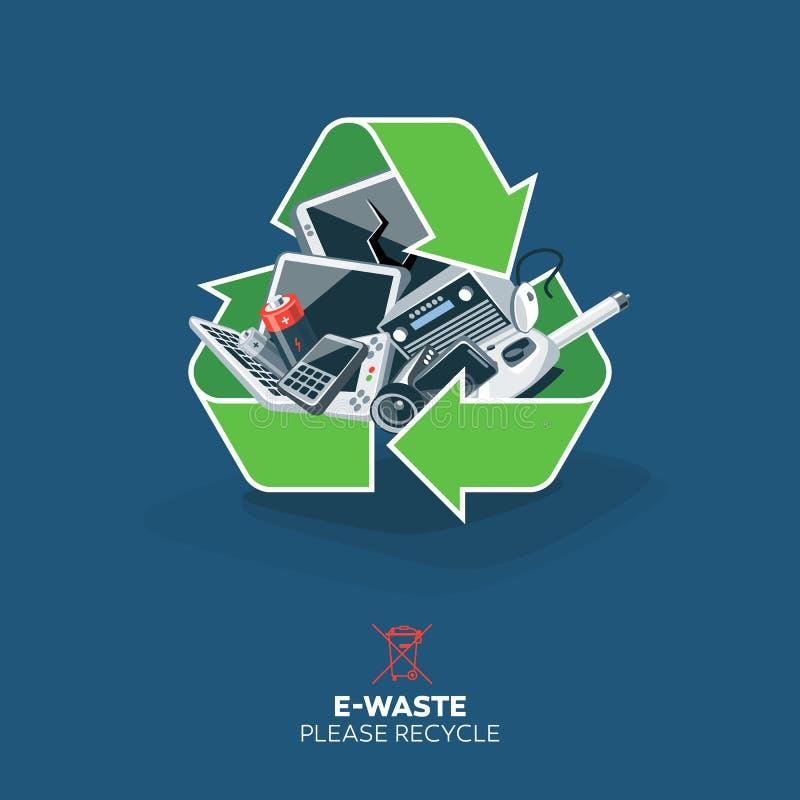 E-déchets en réutilisant le symbole de signe illustration libre de droits
