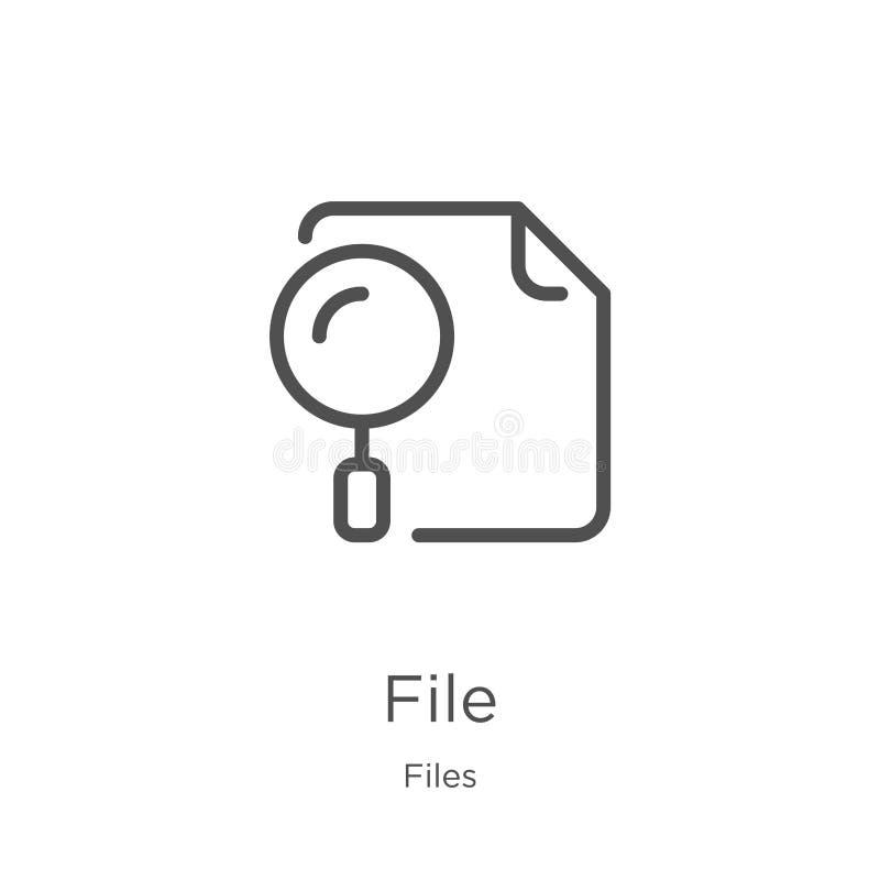 E Dünne Linie Dateientwurfsikonen-Vektorillustration r stock abbildung