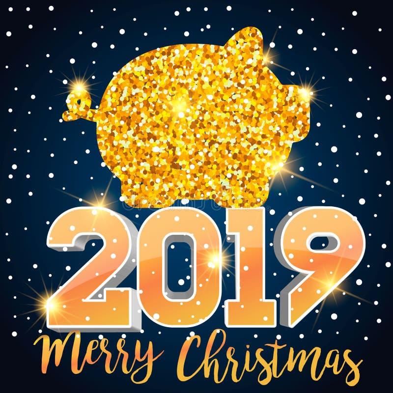 E 3D nowego roku isometric znak dla kartka z pozdrowieniami lub plakata Szczęśliwy nowy rok 2019 ilustracja wektor
