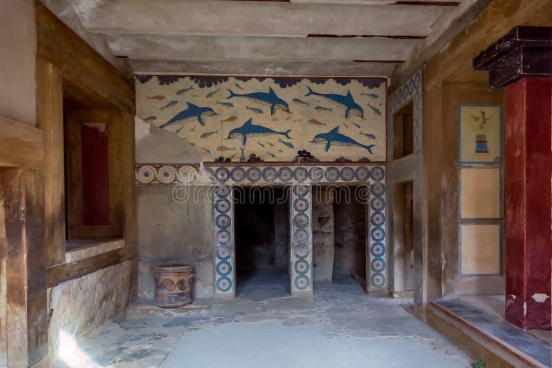 E Dauphins sur les murs de Knossos photos stock