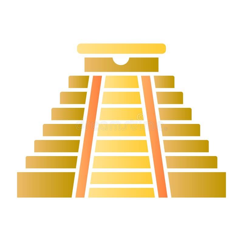 E De Azteekse pictogrammen van de monumentenkleur in in vlakke stijl r royalty-vrije illustratie