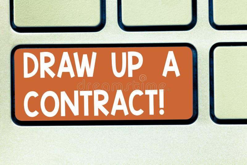 E De conceptuele foto schrijft een bedrijfsovereenkomstensamenwerking wettelijke documenten Toetsenbordsleutel vector illustratie