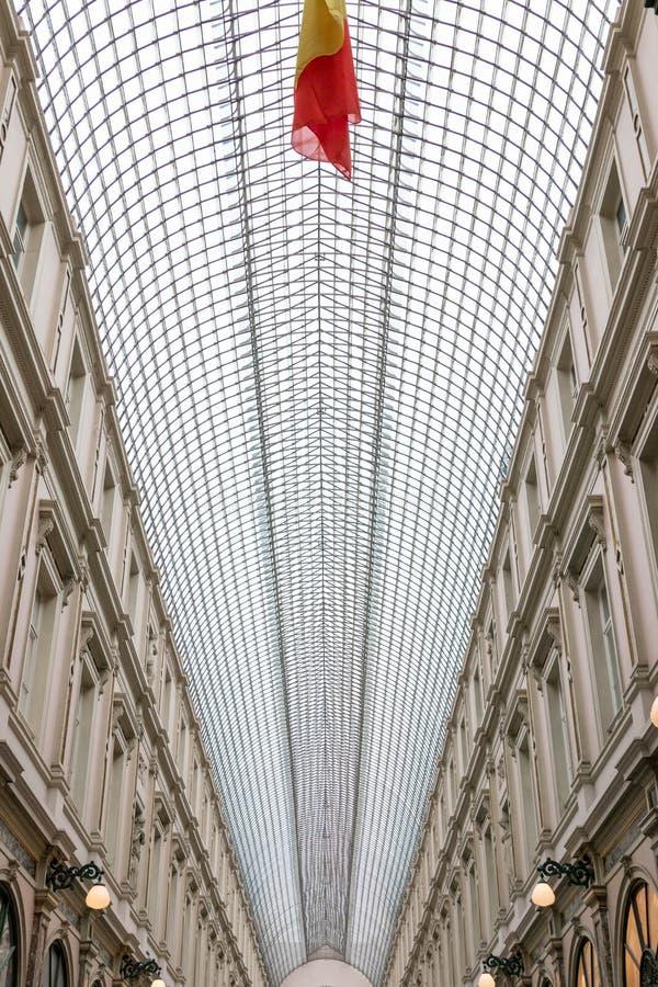 E 02 19: De Galerij van Galeriede La reine Brussel van de koningin royalty-vrije stock foto's