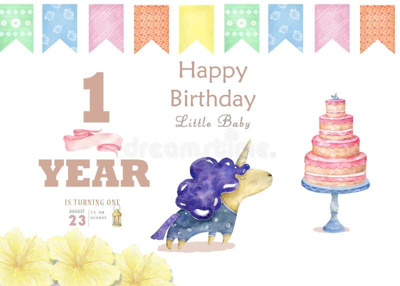 E De illustratie van kinderdagverblijfeenhoorns De affiche van prinseseenhoorns Trendy roze stock fotografie