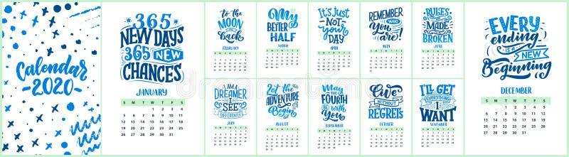 E de kalender van 2020 met grappige motivatiecitaten Hand getrokken illustraties trendy vector illustratie