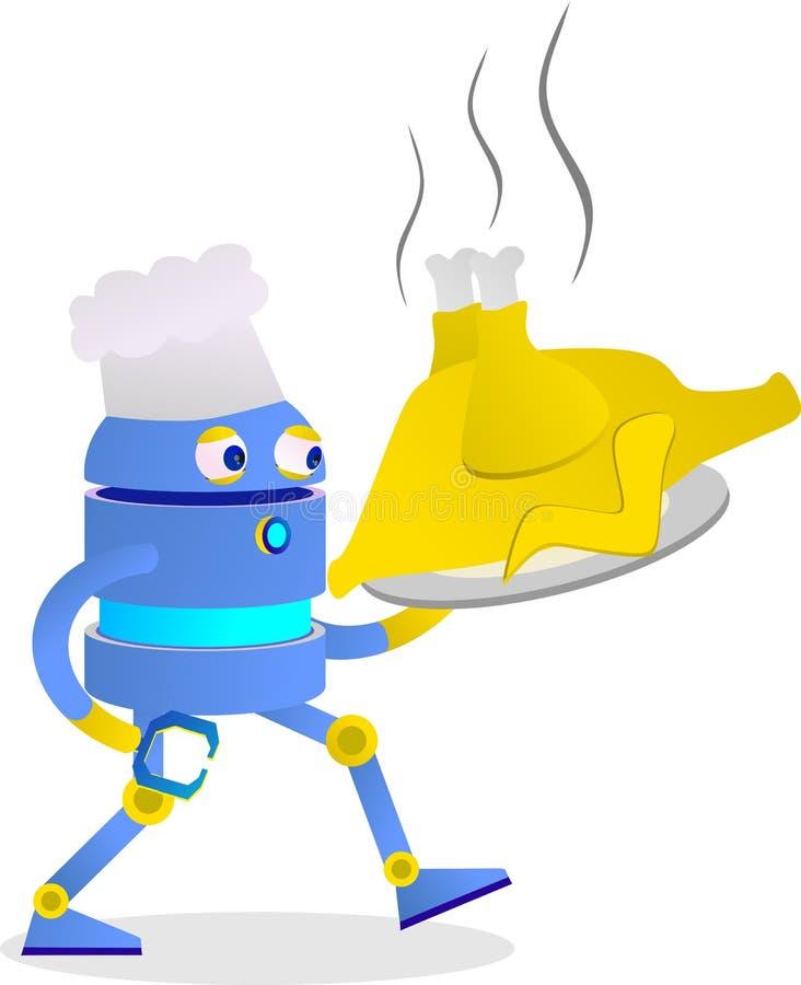 234e de leuke robot genoot van zijn beroep als chef-kok gebraden kip royalty-vrije stock afbeeldingen