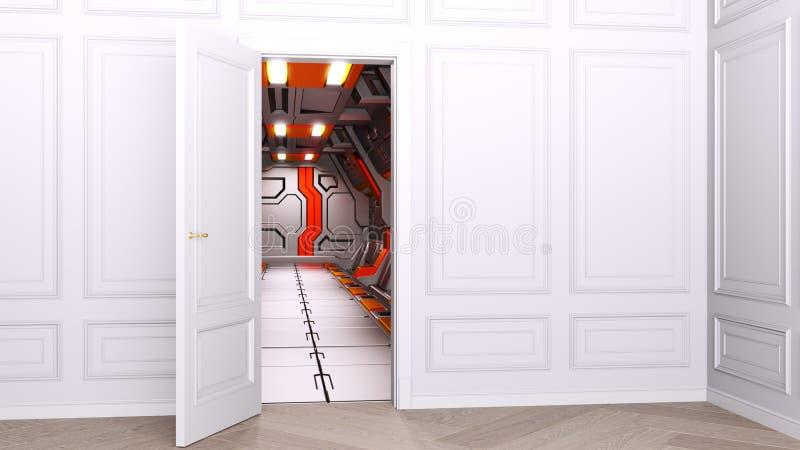 E In de open deuropening kunt u het futuristische binnenland sc.i-FI van het ruimtevaartuig zien Concept van het verleden binnen vector illustratie