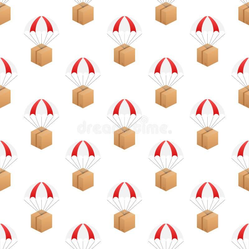 E De pakketten vliegen op valschermen Vector illustratie vector illustratie