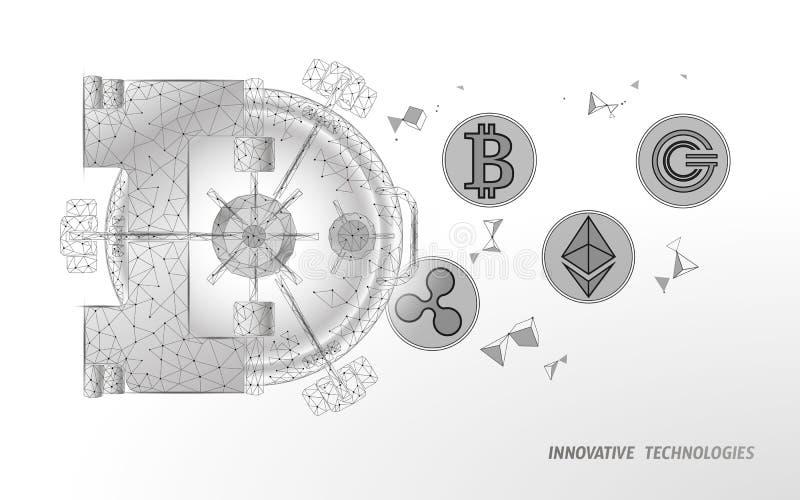 E De veiligheidsopslag van privacygegevens 3D Informatie beschermt het concept van veiligheidscryptocurrency vector illustratie