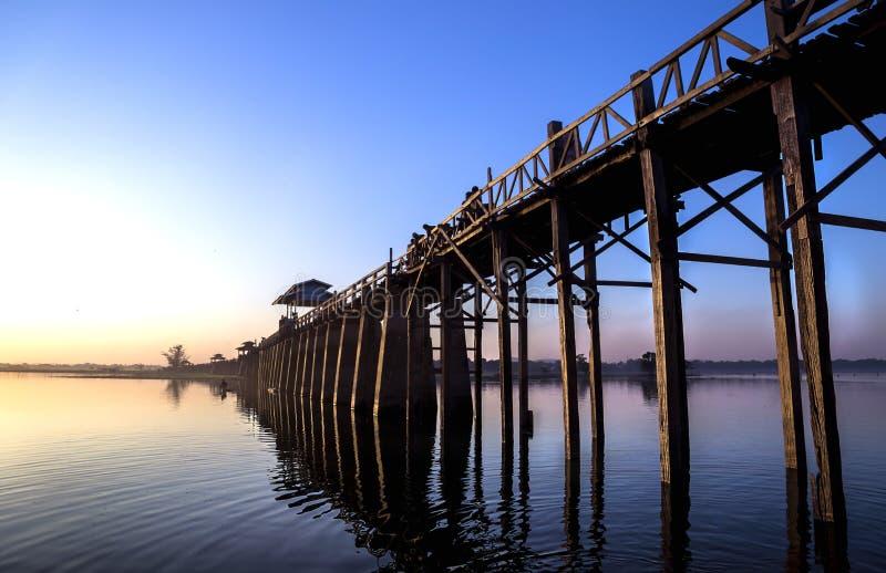 U-Bein-bridge Amarapura. Formarly golden wooden bridge, longest wooden bridge in the world, U-Bein-Bridge, Amarapura, Myanmar, during sunset royalty free stock photo