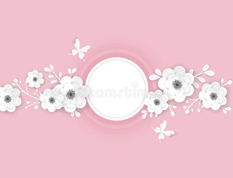 E Dekorativ design med blom- best?ndsdelar f?r origami 3D f?r v?rbaner, sommar stock illustrationer