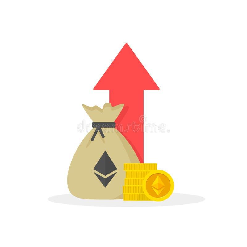 E Desempenho financeiro, produtividade do negócio do ethereum, relatório da estatística, fundo de investimento aberto, retorno so ilustração royalty free