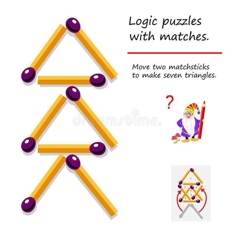 E Devez déplacer deux allumettes pour faire sept triangles Page imprimable pour le livre de puzzle illustration de vecteur
