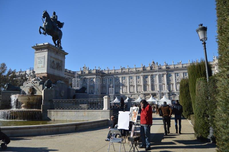 E 7 dicembre 2013 Madrid, Spagna Fotografia della via, fotografia stock libera da diritti
